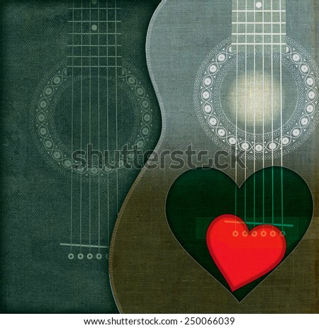 Guitars with heart - stock photo
