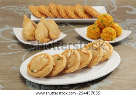 Gujiya and other Indian Sweets  - stock photo
