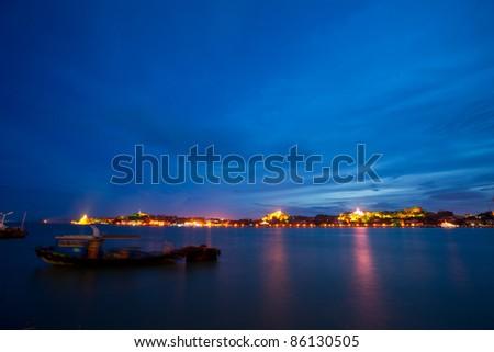 Gulangyu island night scape in xiamen of china - stock photo