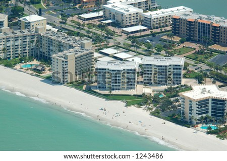 Gulf coast Florida Beach front condos aerial view - stock photo