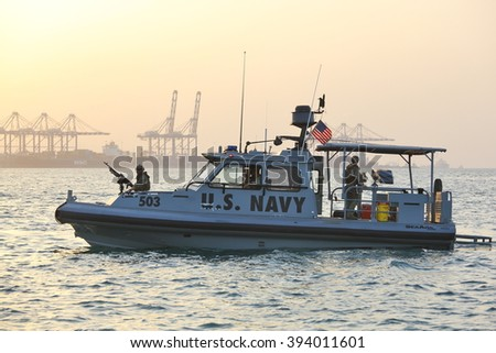 GULF OF ADEN, DJIBOUTI FEBRUARY 06, 2016: US NAVY inshore security patrolling in port of Djibouti - stock photo
