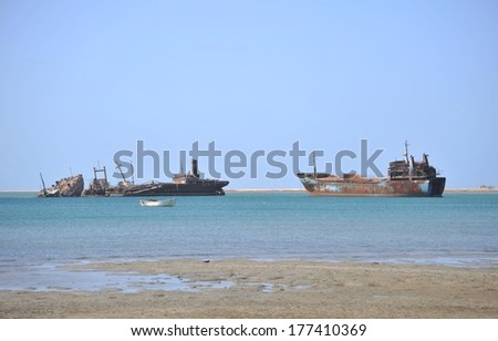GULF OF ADEN, SOMALIA - JANUARY 10, 2010: The Gulf of Aden has economic significance as a waterway to transport oil from the Persian Gulf. In the XXI century, there is the acute problem of piracy.