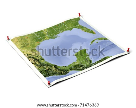 Gulf of Mexico on unfolded map sheet with thumbtacks. Map colored according to vegetation, with borders and major urban areas. Includes clip path for the background. - stock photo