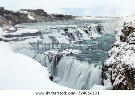 Gulfoss Golden Falls waterfall Iceland in winter - stock photo