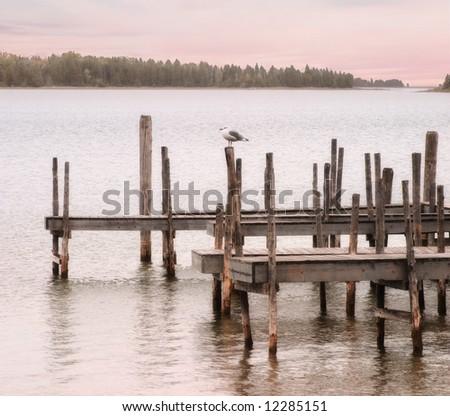 Gull And Dock, Lake Huron At Hessel Michigan, Upper Peninsula - stock photo