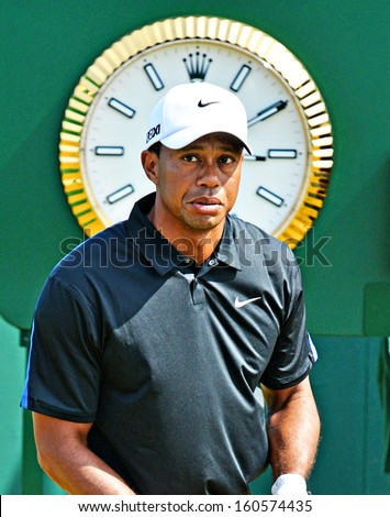 GULLANE, SCOTLAND JULY 20 - Tiger Woods at the Open Golf Championship  2013 - stock photo