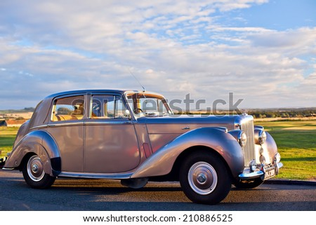 GULLANE, SCOTLAND - SEPTEMBER 5, 2013: The Bentley Mark VI 4-door standard steel sports saloon was the first post-war luxury car from Bentley. Production 1946-1952, 5208 produced.  - stock photo