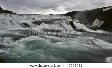 Gullfoss, a 32 metres waterfall in the canyon of Hvita river in Iceland - stock photo