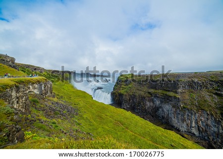 Gullfoss big and beauty waterfall in Iceland - stock photo