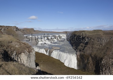 Gullfoss Falls in Iceland - stock photo