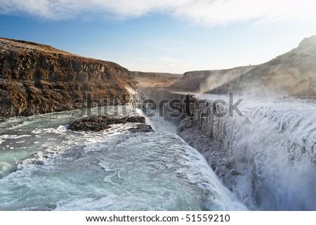 Gullfoss, Iceland. The Great Watefall. - stock photo
