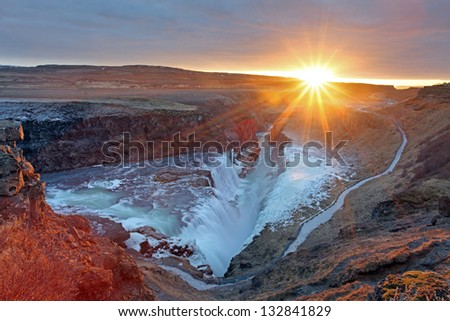 Gullfoss waterfall at sunset in Iceland during winter - stock photo