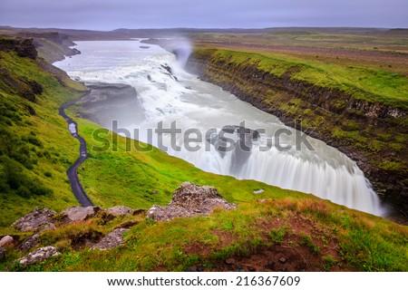 Gullfoss - waterfall in Iceland - stock photo