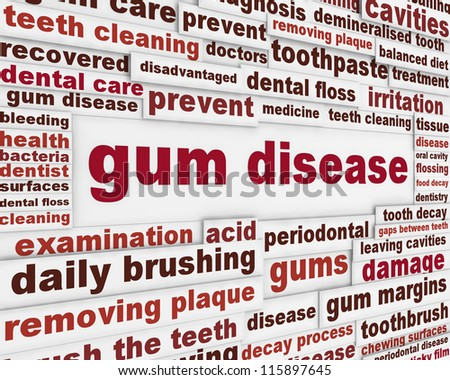 Gum disease warning message. Dental disease poster design - stock photo