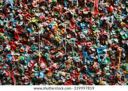 gum wall in Seattle - stock photo