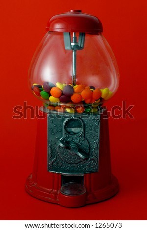 Gumball on Red - stock photo