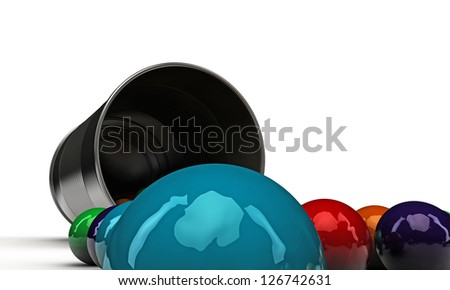 gumballs in a metal can isolated on white background