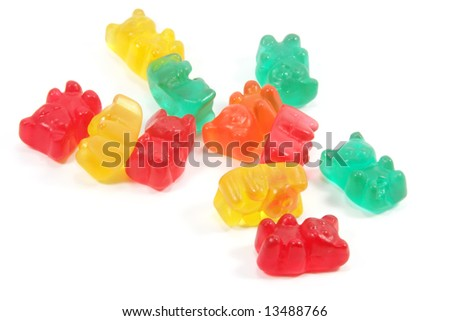 Gummi Bears Isolated on a White Background