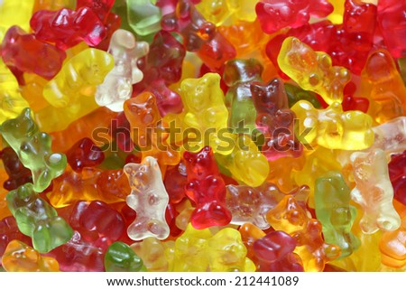 Gummy bear background close-up. - stock photo