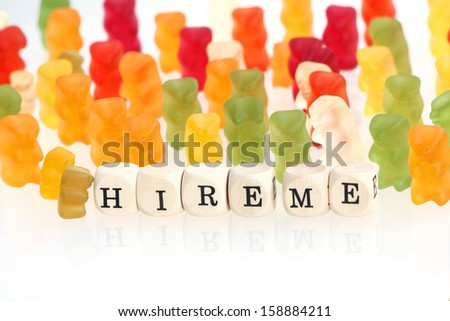 Gummy Bear series - seek for jobs (conceptual) - stock photo