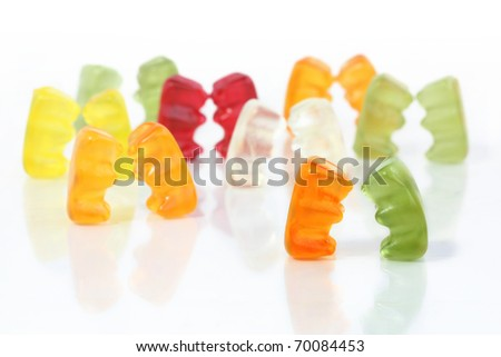 Gummy bear story series - Encounter at the party - stock photo