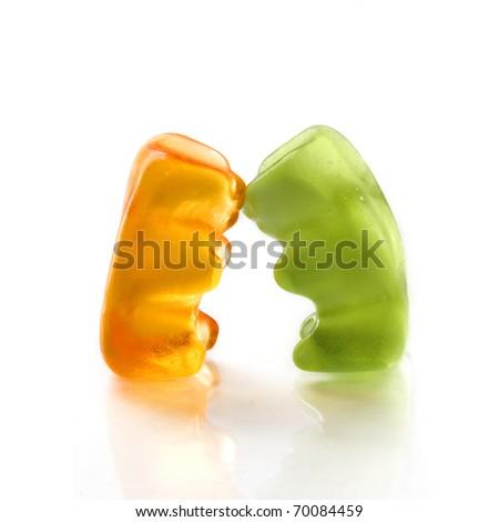 Gummy bear story series - Falling in Love - stock photo