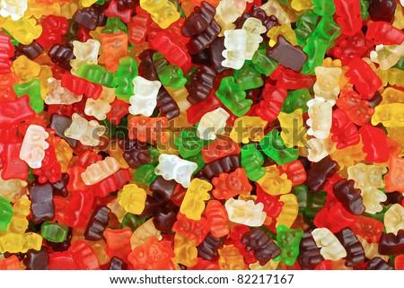 gummy bears background - stock photo