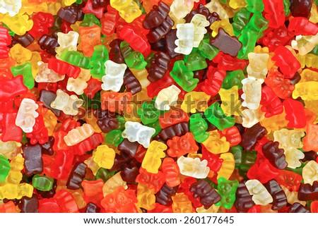 gummy bears background texture closeup - stock photo