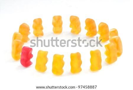Gummy bears series - integration, (conceptual) - stock photo