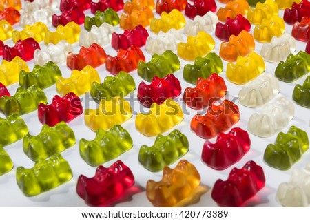 Gummy candy bears background abstract - stock photo