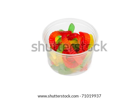 Gummy Worms from the Candy Aisle Isolated on a White Background