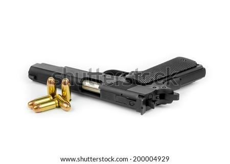 gun and ammo  on white background - stock photo