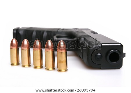 gun and bullets - stock photo