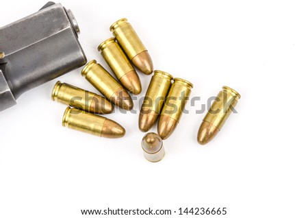 Gun and Bullets isolated on the white Background.