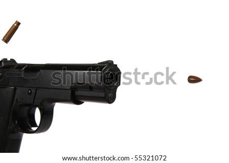 gun and flying bullet - stock photo