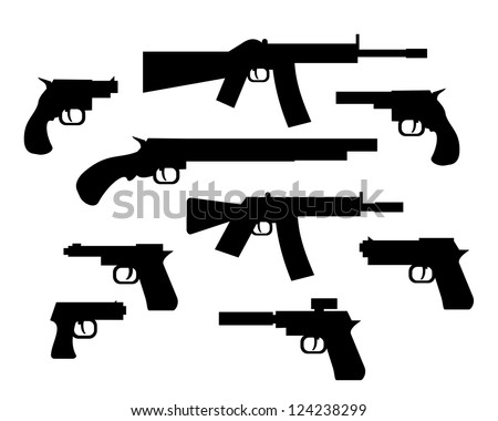 gun and rifle raster illustration collection - stock photo