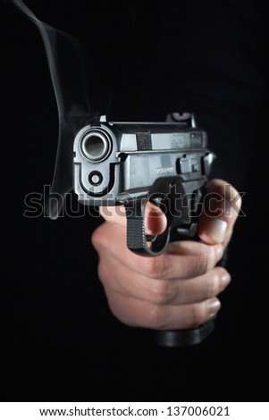 Gun Barrel with Smoke - stock photo