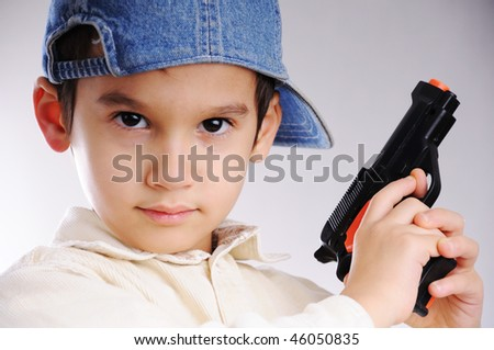 gun boy - stock photo