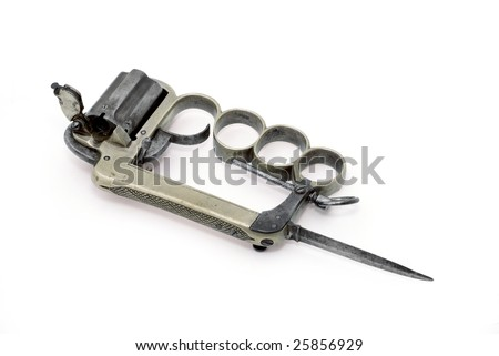 gun brass knuckles ?Apache?, mod. 1869?, with small bayonet. - stock photo