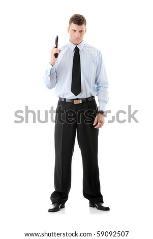 Gun control concept - businessman with handgun, isolated on white - stock photo