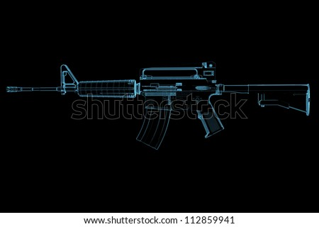 Gun (3D xray blue transparent) - stock photo