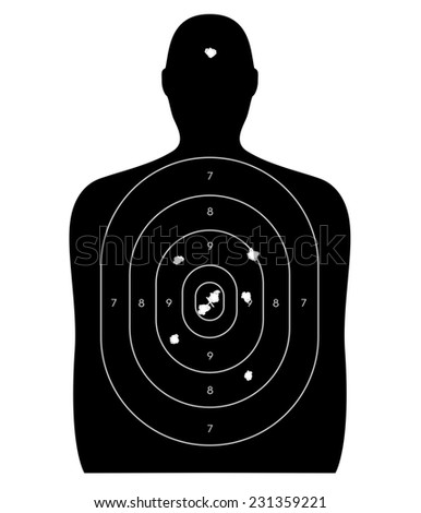 Gun firing range target shaped like a human, with bullet holes in the bull's-eye and a headshot. Isolated on a white background with clipping path. - stock photo