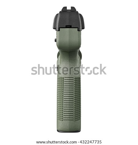 Gun green military police, back view. 3D graphic - stock photo