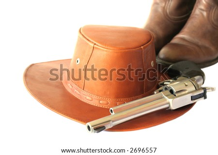 Gun,Hat and Boots - stock photo