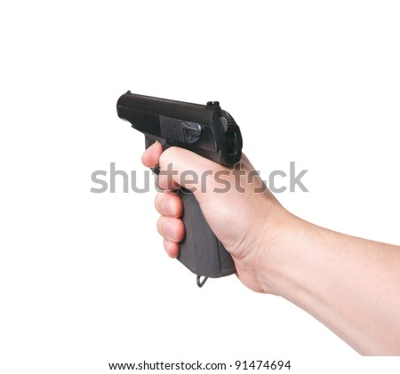 Gun in hand on a white background. Aiming - stock photo