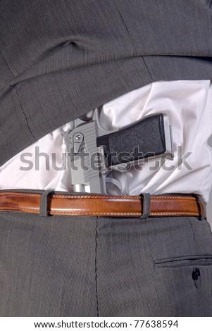gun in pants - stock photo