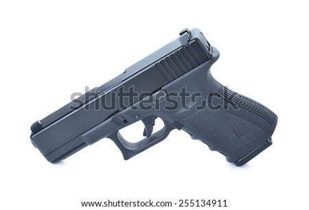 gun isolated on white background, modern gun - stock photo