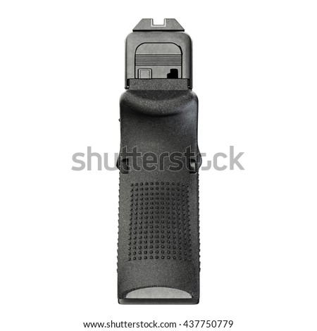 Gun metallic police, military, black on white background isolated, back view. 3D graphic - stock photo