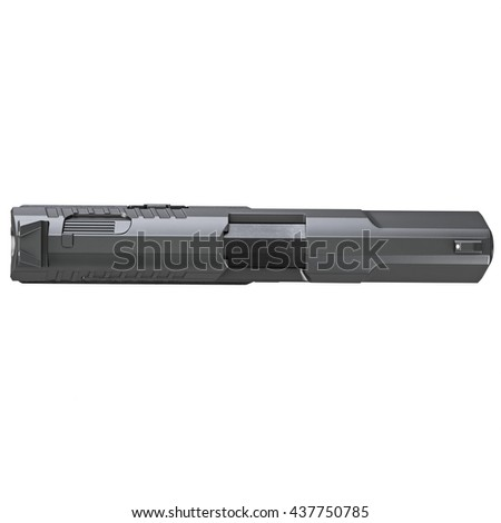 Gun metallic police, military, black on white background isolated. 3D graphic - stock photo