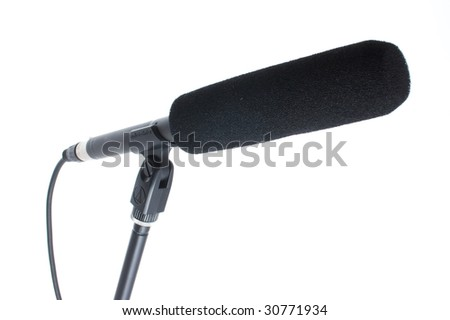 gun microphone with windscreen isolated on white